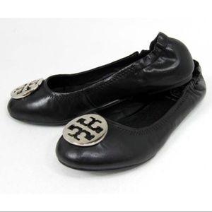 Tory Burch Reva Black Flat Silver Logo Size 8